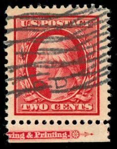 momen: US Stamps #332 Used SUPERB JUMBO Imprint Single