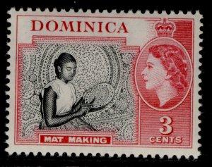 DOMINICA QEII SG144, 3c black & carmine, NH MINT.