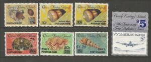 COCOS ISLANDS  225-236  MNH,  SEASHELLS SURCHARGED IN BLUE OR BLK