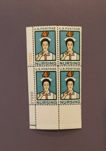 1190, Nursing, Plate Block LL, Mint OGNH, CV $7.00 per Durland Catalog
