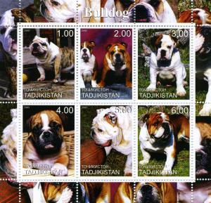 Tajikistan 2000 DOGS BULLDOG Sheet (6) Perforated Mint (NH)
