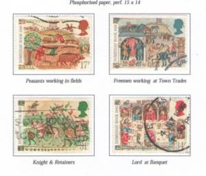 Great Britain Sc 1145-8 1986 Domesday Book stamps used