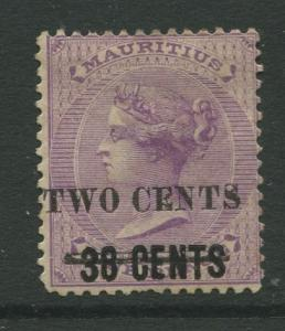 STAMP STATION PERTH: Mauritius #87 MNG 1891  Single 2c on a 38c on a 9c Stamp