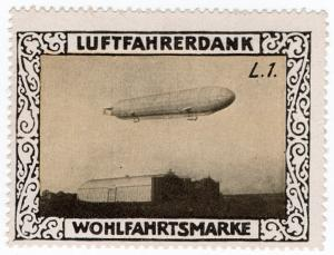 (I.B) Germany Cinderella : Pilot's Charity Stamp (Zeppelin Type L1)