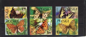 POLAND 1977 BUTTERFLIES SET OF 6 STAMPS MNH