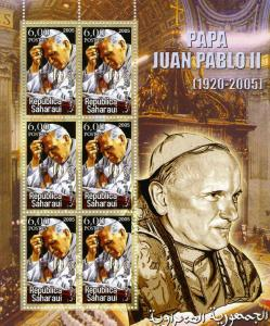 Saharawi Republic 2005 POPE JOHN PAUL II Sheet Perforated Mint (NH)