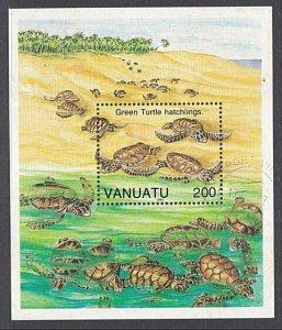 VANUATU 1992 Green Turtle souvenir sheet fine used x 5.....................A280a