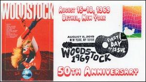 19-150, 2019, Woodstock 50th, Pictorial Postmark, FDC, New York