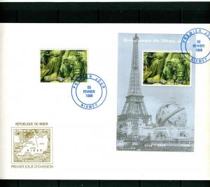 NIGER 1998 The First World War set + s/s Perforated in official FDC