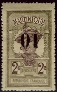 Martinique #106a Inverted Surcharge Mint F-VF hr SC$45.00..Very Popular Country!