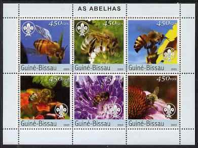 Guinea-Bissau MNH S/S Bees Insects 2003 6 Stamps