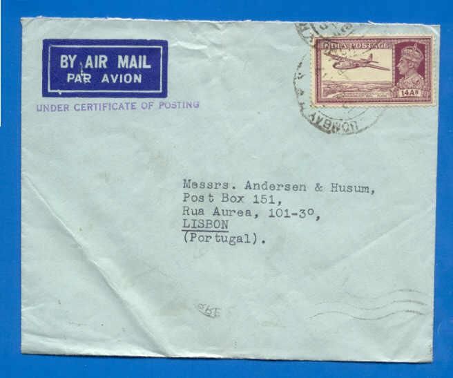 COVER AIR MAIL year 1949 BRITISH INDIA BOMBAY to EUROPE