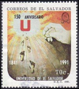 El Salvador # 1264 used ~ 70¢ Hand, Sun, Footprints