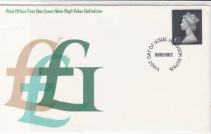 british 1972 £ Signs P.O. FDC New High Value Definitives stamps cover ref 21558