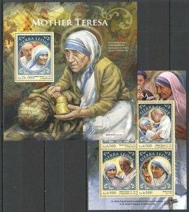 ST395 2016 SIERRA LEONE GREAT HUMANISTS MOTHER TERESA KB+BL MNH STAMPS