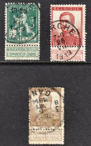 Belgium Scott 94, 95, 97  F to VF used.
