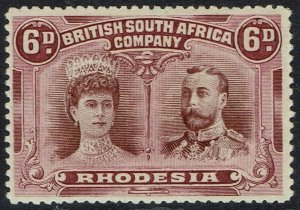 RHODESIA 1910 KGV DOUBLE HEAD 6D PERF 14