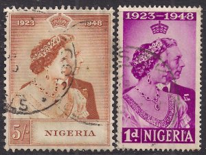 Nigeria 1948 KGV1 Set Royal Silver Wedding used SG 62 - 63 ( D1137 )