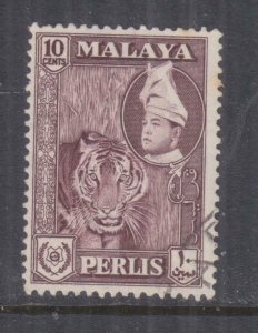 PERLIS, MALAYSIA, 1961  Sultan, 10c. Deep Maroon, used.