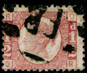 SG49, ½d rose PLATE 15, USED. Cat £40. OR