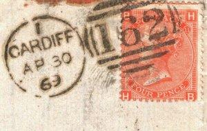 GB WALES Cover Cardiff COAL MINING EL 4d Plate 2 France Caen 1869{samwells}89.32