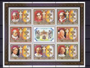 Belize 1986 POPE JP.II & Popes Sheet (8)+label Perforated Mint (NH)