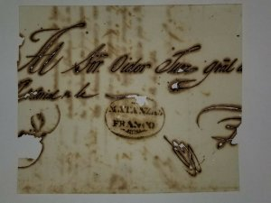 O)  SPANISH ANTILLES, PREPHILATELY - PRESTAMP, MATANZAS FRANCO CANCELLATION, FRO