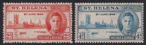 St Helena 1946 KGV1 Set of Victory Umm SG 141 - 142 ( C1334 )