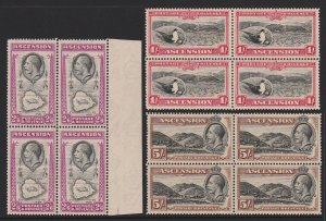 ASCENSION : 1934 KGV Pictorial set ½d to 5/- blocks. MNH **. Very Rare!