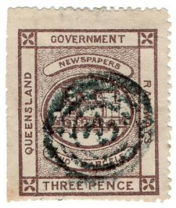 (I.B) Australia - Queensland Railways : Parcel Stamp 3d