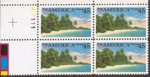 US Stamp - 1990 45c Pre-Columbian America Airmail - 4 Stamp PB #C127