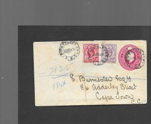 ORANGE RIVER COLONY 1906 UPRATED REGISTERED COVER
