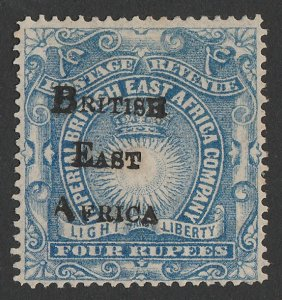 BRITISH EAST AFRICA 1895 BEA overprint Light & Liberty 4R. Only 868 printed.