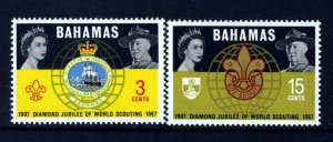 BAHAMAS QE II 1967 World Scouting Diamond Jubilee Set SG 310 & SG 311 MNH