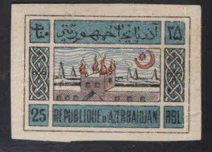 Azerbaijan Scott 9 MH* on White paper