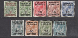 J26347  jlstamps 1917-24 great britain morocco set mh #401-9 ovpt.s