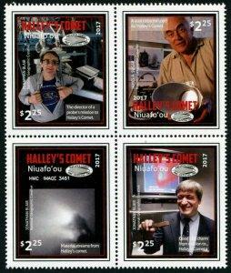 HERRICKSTAMP NEW ISSUES NIUAFO'OU Sc.# 365 Halley's Comet Block of 4