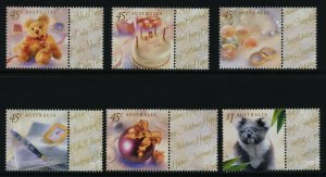 Australia 1773-8 MNH Teddy Bear, Koala, Birthday Cake, Christmas Ornament