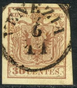 LOMBARDY VENETIA 1855 30c Brown VENEZIA Postmark VFU Austrian Italy