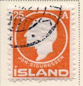 Iceland Sc 91 1911 25 aur Sigurdsson stamp used