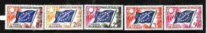 France-Sc#1O2-6- id2-Unused NH set-Conseil De L'Europe-Flags-1958-9-