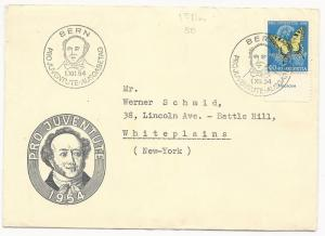 Switzerland Scott #B241 on First Day Cover July 1, 1954 to New York USA
