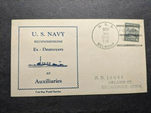 USS BELKNAP DD-251 Naval Cover 1940 FDPS Cachet FIRST DAY