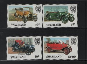 SWAZILAND 481-484 (4) Set, Hinged, 1985 Classic Automobiles