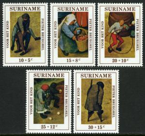 Surinam B177-B181, MNH. Child welfare. Children's Games by Peter Brueghel, 1971
