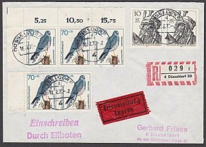 GERMANY 1973 Registered cover - Nice franking - Birds.......................B465