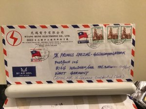 Taiwan to germany large commercial  multi stamps  airmail cover Ref R25691
