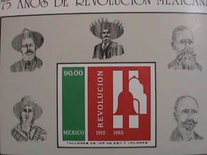 MEXICO STAMP-1985-SC#1419- 75TH ANNIV: MEXICO REVOLUTION- IMPERF:-MINT-NH SHEET