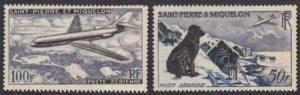 St. Pierre 1957 SC C21-C22 MNH Set - Dog Plane