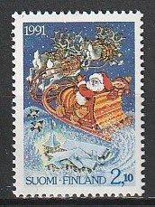 1991 Finland - Sc 875 - MNH VF - 1 single - Reindeer pulling Santa's Sleigh